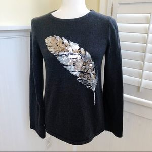 Ann Taylor Sequin Feather Cashmere Blend Sweater